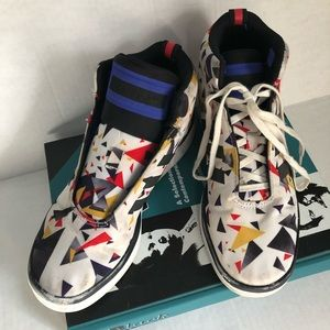 Adidas colorful high top shoes size 6